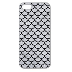 Scales1 Black Marble & Silver Glitter Apple Seamless Iphone 5 Case (clear) by trendistuff
