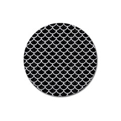 Scales1 Black Marble & Silver Glitter (r) Magnet 3  (round) by trendistuff