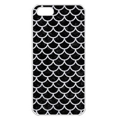 Scales1 Black Marble & Silver Glitter (r) Apple Iphone 5 Seamless Case (white)