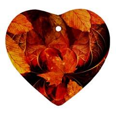 Ablaze With Beautiful Fractal Fall Colors Ornament (heart) by jayaprime