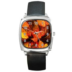 Ablaze With Beautiful Fractal Fall Colors Square Metal Watch by jayaprime