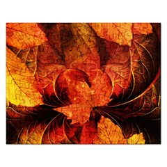Ablaze With Beautiful Fractal Fall Colors Rectangular Jigsaw Puzzl by jayaprime