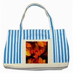 Ablaze With Beautiful Fractal Fall Colors Striped Blue Tote Bag by jayaprime