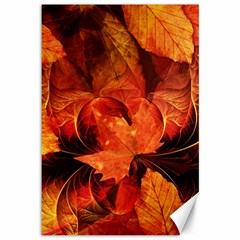 Ablaze With Beautiful Fractal Fall Colors Canvas 12  X 18   by jayaprime