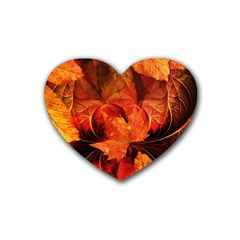 Ablaze With Beautiful Fractal Fall Colors Rubber Coaster (heart)  by jayaprime