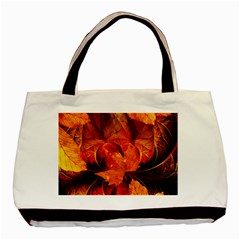 Ablaze With Beautiful Fractal Fall Colors Basic Tote Bag (two Sides) by jayaprime