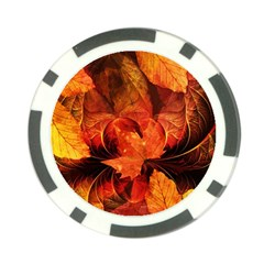 Ablaze With Beautiful Fractal Fall Colors Poker Chip Card Guard by jayaprime