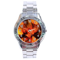 Ablaze With Beautiful Fractal Fall Colors Stainless Steel Analogue Watch by jayaprime