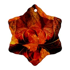 Ablaze With Beautiful Fractal Fall Colors Snowflake Ornament (two Sides) by jayaprime
