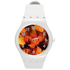 Ablaze With Beautiful Fractal Fall Colors Round Plastic Sport Watch (m) by jayaprime