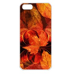 Ablaze With Beautiful Fractal Fall Colors Apple Iphone 5 Seamless Case (white) by jayaprime