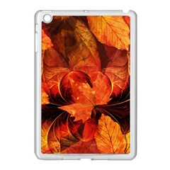 Ablaze With Beautiful Fractal Fall Colors Apple Ipad Mini Case (white) by jayaprime