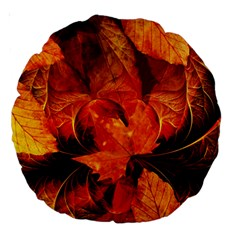 Ablaze With Beautiful Fractal Fall Colors Large 18  Premium Round Cushions by jayaprime