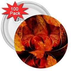 Ablaze With Beautiful Fractal Fall Colors 3  Buttons (100 Pack)  by jayaprime