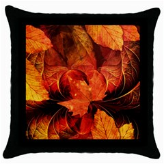 Ablaze With Beautiful Fractal Fall Colors Throw Pillow Case (black) by jayaprime