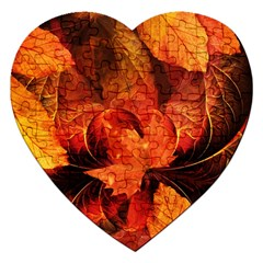 Ablaze With Beautiful Fractal Fall Colors Jigsaw Puzzle (heart) by jayaprime