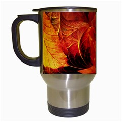 Ablaze With Beautiful Fractal Fall Colors Travel Mugs (white) by jayaprime