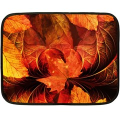 Ablaze With Beautiful Fractal Fall Colors Double Sided Fleece Blanket (mini)  by jayaprime