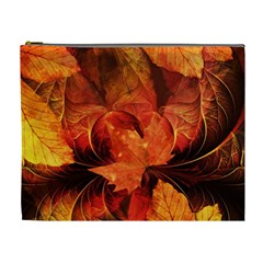 Ablaze With Beautiful Fractal Fall Colors Cosmetic Bag (xl) by jayaprime