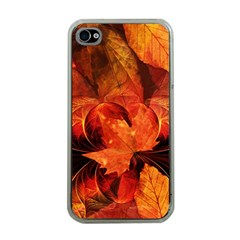 Ablaze With Beautiful Fractal Fall Colors Apple Iphone 4 Case (clear) by jayaprime