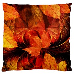 Ablaze With Beautiful Fractal Fall Colors Large Cushion Case (one Side) by jayaprime