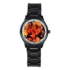Ablaze With Beautiful Fractal Fall Colors Stainless Steel Round Watch by jayaprime
