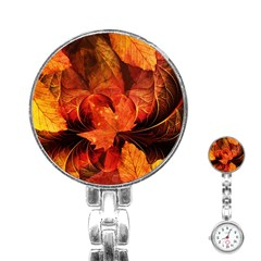 Ablaze With Beautiful Fractal Fall Colors Stainless Steel Nurses Watch by jayaprime