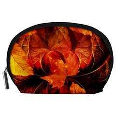 Ablaze With Beautiful Fractal Fall Colors Accessory Pouches (large)  by jayaprime