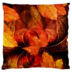 Ablaze With Beautiful Fractal Fall Colors Large Flano Cushion Case (one Side) by jayaprime