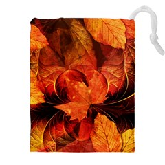 Ablaze With Beautiful Fractal Fall Colors Drawstring Pouches (xxl) by jayaprime