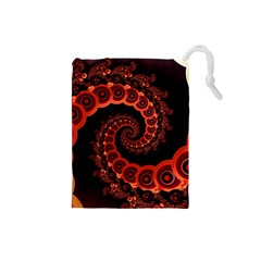 Chinese Lantern Festival For A Red Fractal Octopus Drawstring Pouches (small)  by jayaprime