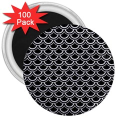 Scales2 Black Marble & Silver Glitter (r) 3  Magnets (100 Pack) by trendistuff