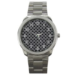 Scales2 Black Marble & Silver Glitter (r) Sport Metal Watch by trendistuff