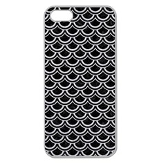 Scales2 Black Marble & Silver Glitter (r) Apple Seamless Iphone 5 Case (clear) by trendistuff