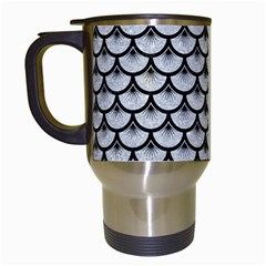 Scales3 Black Marble & Silver Glitter Travel Mugs (white) by trendistuff