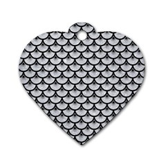Scales3 Black Marble & Silver Glitter Dog Tag Heart (one Side) by trendistuff