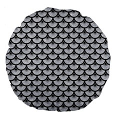 Scales3 Black Marble & Silver Glitter Large 18  Premium Flano Round Cushions by trendistuff