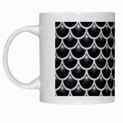 Scales3 Black Marble & Silver Glitter (r) White Mugs by trendistuff