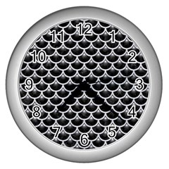 Scales3 Black Marble & Silver Glitter (r) Wall Clocks (silver)  by trendistuff