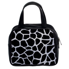 Skin1 Black Marble & Silver Glitter Classic Handbags (2 Sides) by trendistuff