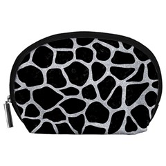Skin1 Black Marble & Silver Glitter Accessory Pouches (large)  by trendistuff