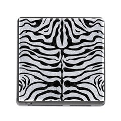 Skin2 Black Marble & Silver Glitter Memory Card Reader (square) by trendistuff