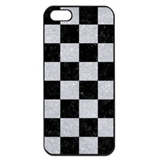 Square1 Black Marble & Silver Glitter Apple Iphone 5 Seamless Case (black) by trendistuff