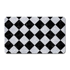 Square2 Black Marble & Silver Glitter Magnet (rectangular) by trendistuff