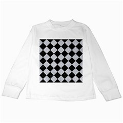 Square2 Black Marble & Silver Glitter Kids Long Sleeve T Shirts