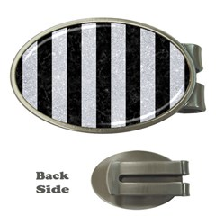 Stripes1 Black Marble & Silver Glitter Money Clips (oval)  by trendistuff