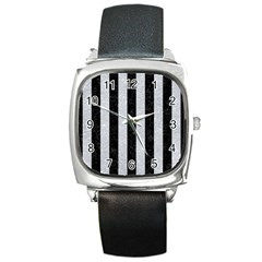 Stripes1 Black Marble & Silver Glitter Square Metal Watch