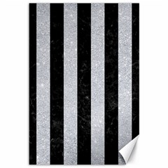 Stripes1 Black Marble & Silver Glitter Canvas 12  X 18   by trendistuff