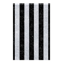 Stripes1 Black Marble & Silver Glitter Shower Curtain 48  X 72  (small)  by trendistuff