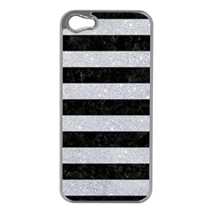 Stripes2 Black Marble & Silver Glitter Apple Iphone 5 Case (silver) by trendistuff